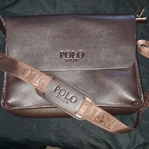 Mens cross body polo brown bag